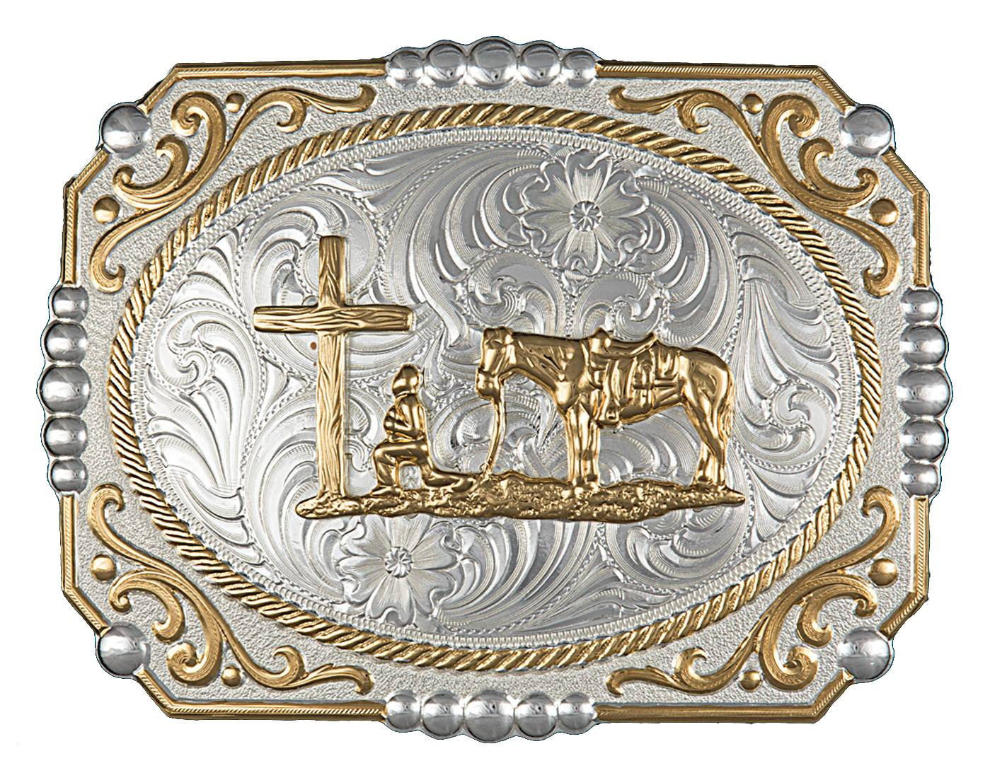 Montana Silversmiths Two-tone Cowboy Cameo Buckle with Christian Cowboy