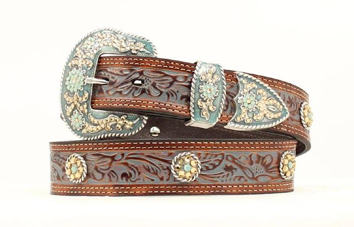 Nocona Embellished Tooled Leather Belt