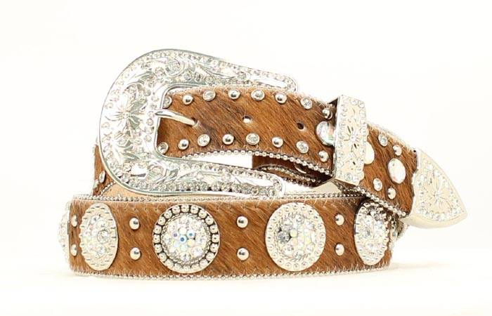 Nocona Round Crystal Concho Calf Hair Belt