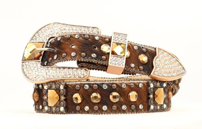 Nocona Square Berry Crystal Calf Hair Belt