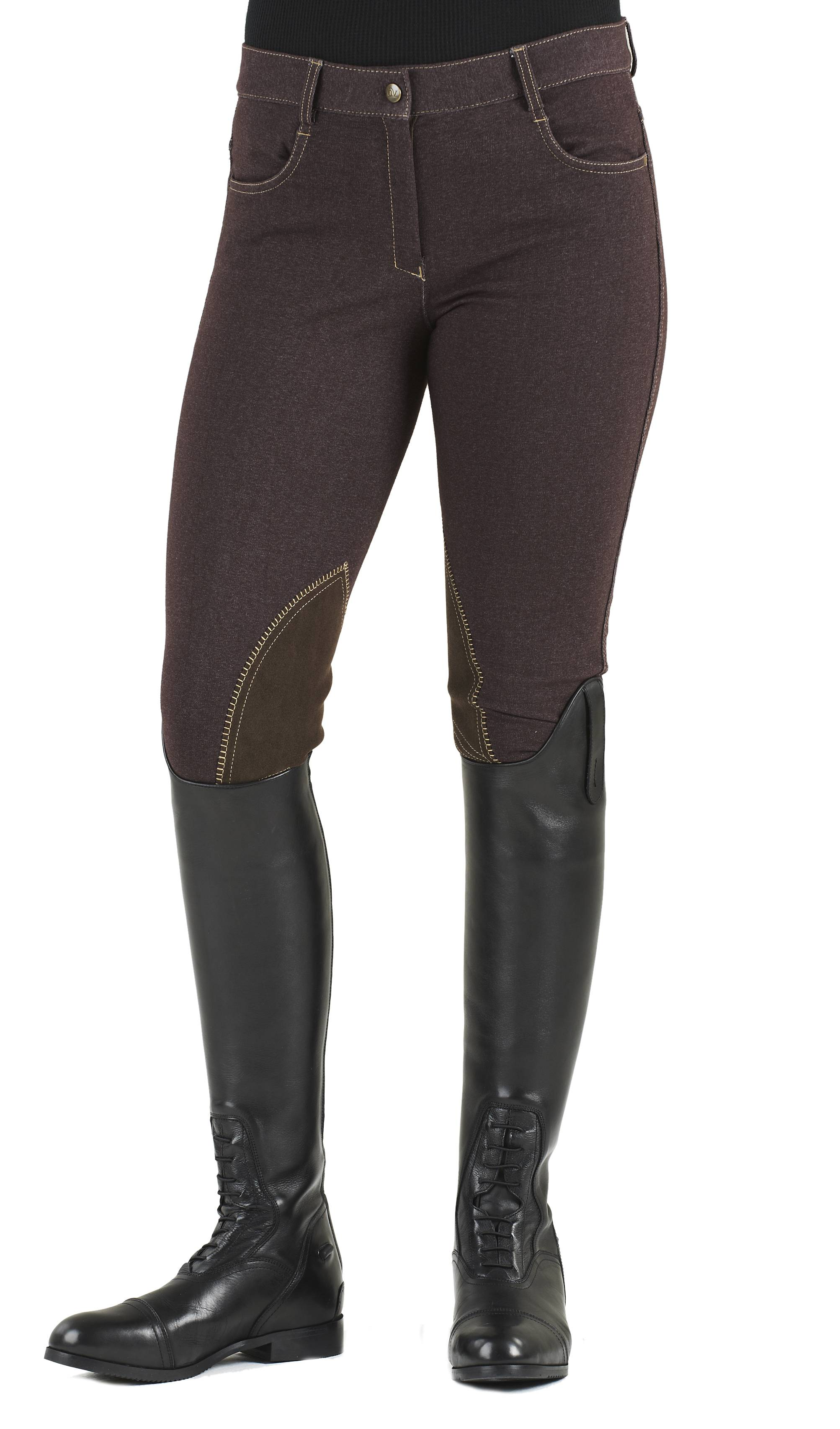 Ovation Ladies' Euro Jean Zip Front Knee Patch Breech