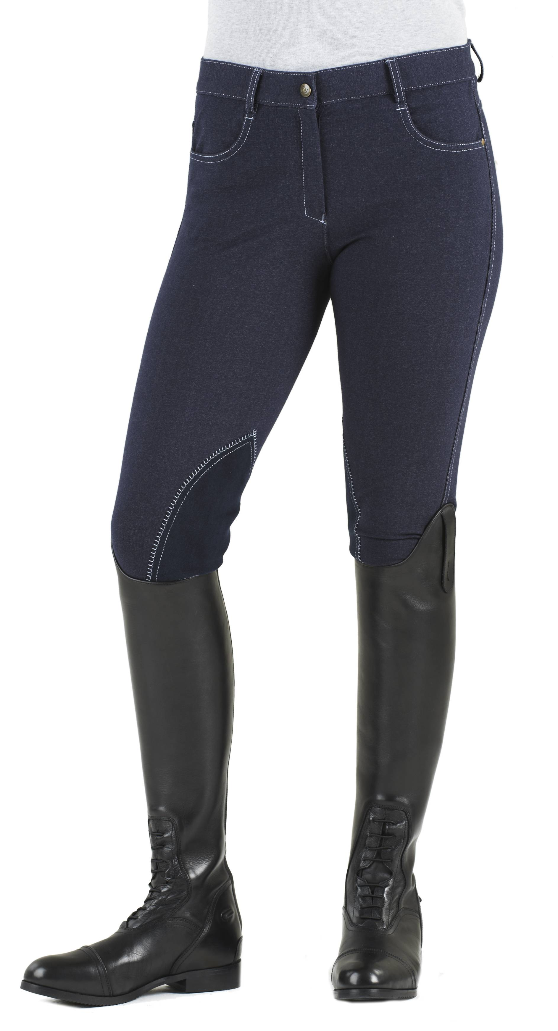 Ovation Ladies Euro Jean Zip Front Knee Patch Breeches