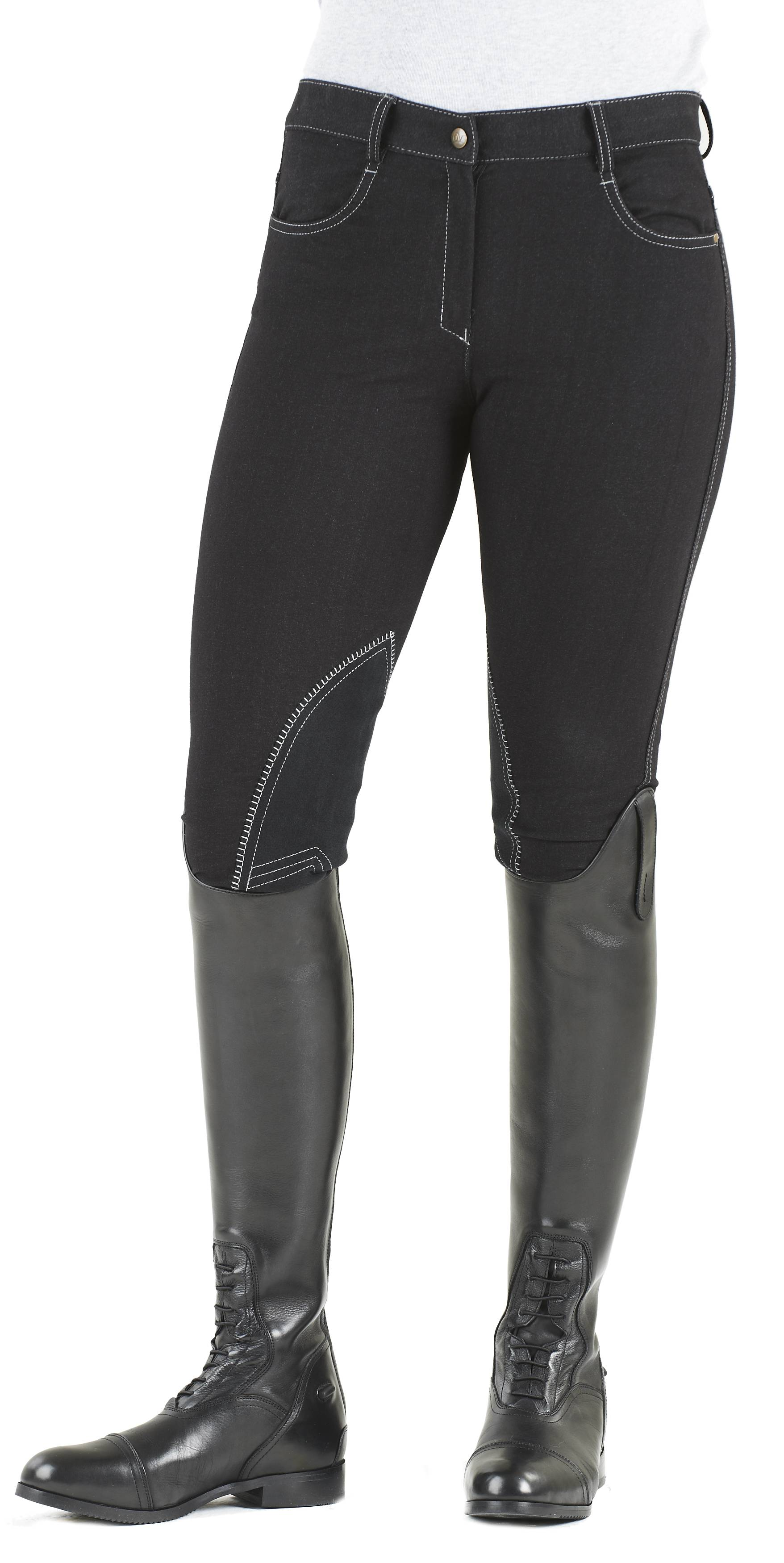 Ovation Ladies Euro Melange Zip Front Knee Patch Breeches
