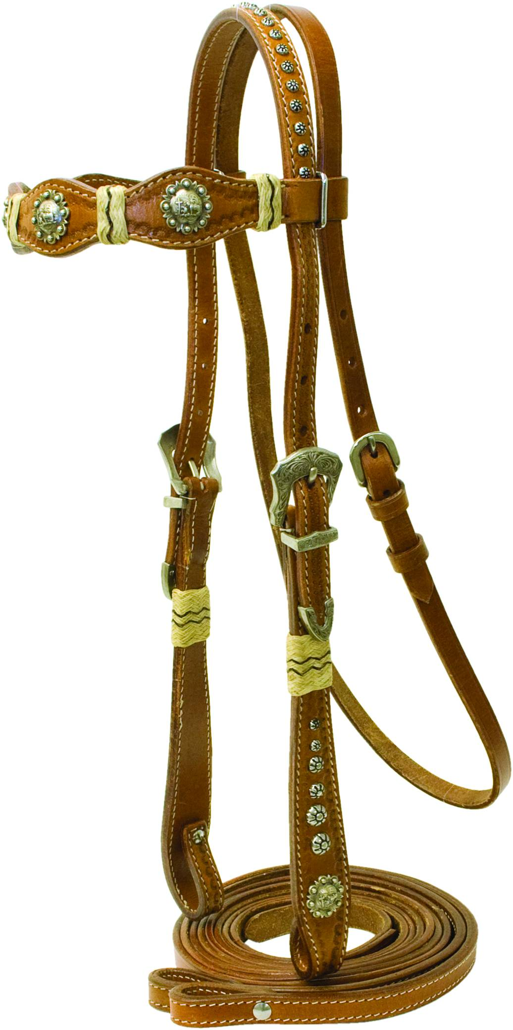 Cowboy Pro Scalloped Brow Bridle with Praying Cowboy Conchos