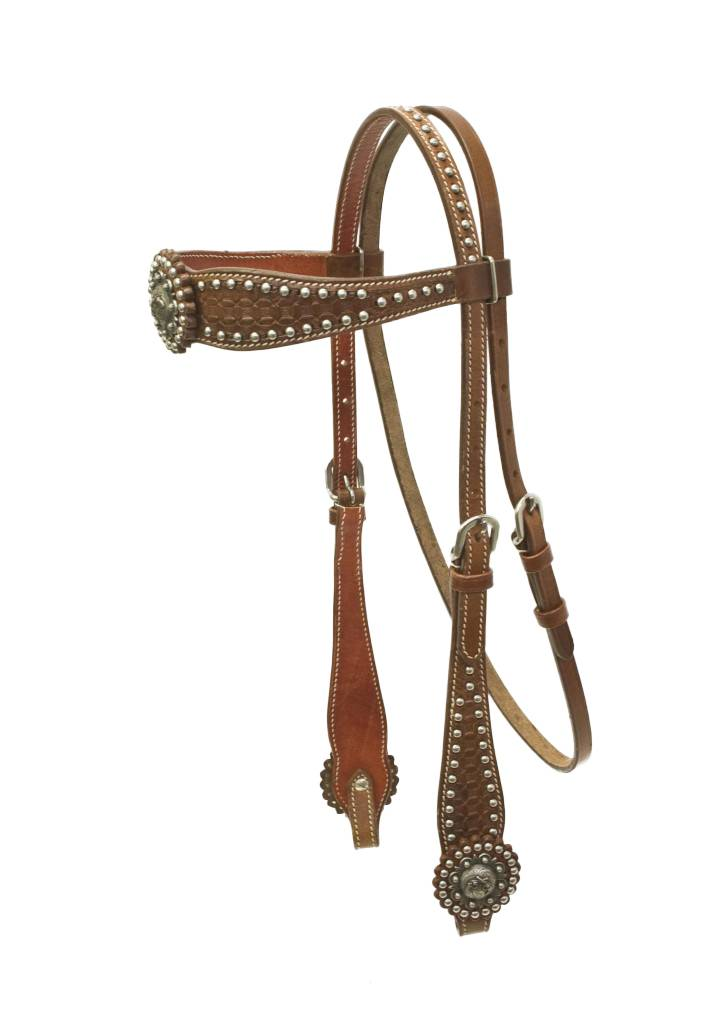 Cowboy Pro Waffle Brow Headstall with Copper Concho