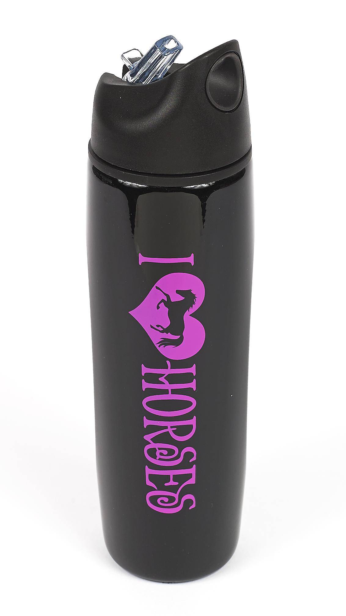 ''I (heart) Horses'' Stainless Steel Sports Bottle