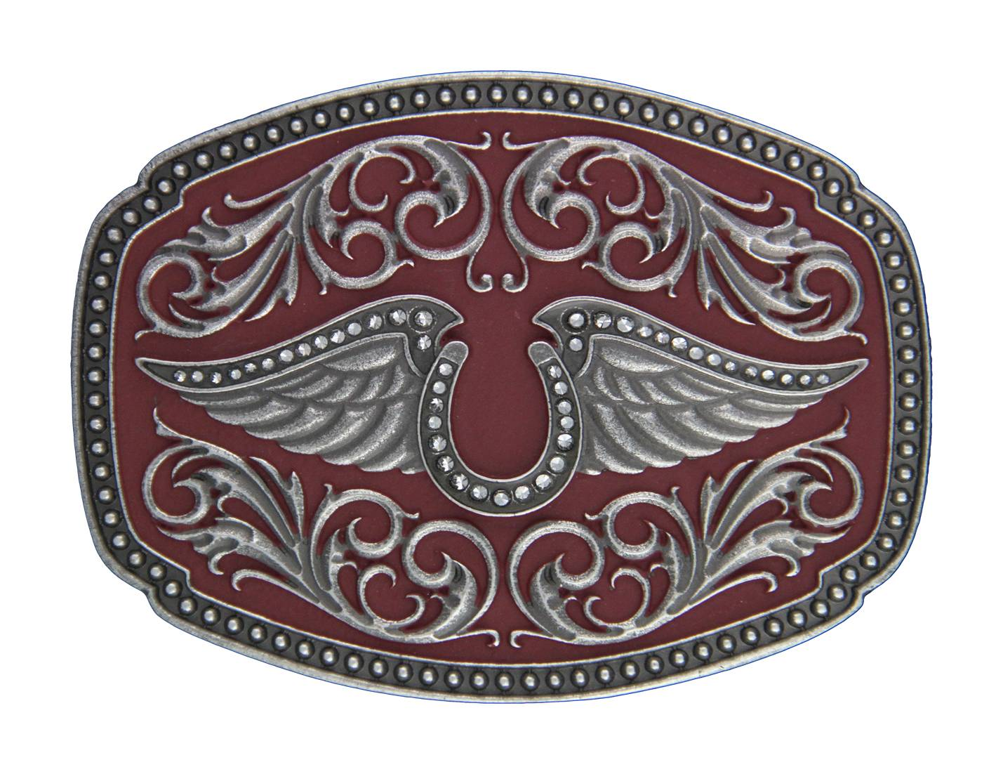 Rock 47 Tattoo Art Horseshoe on Wings Painted Buckle