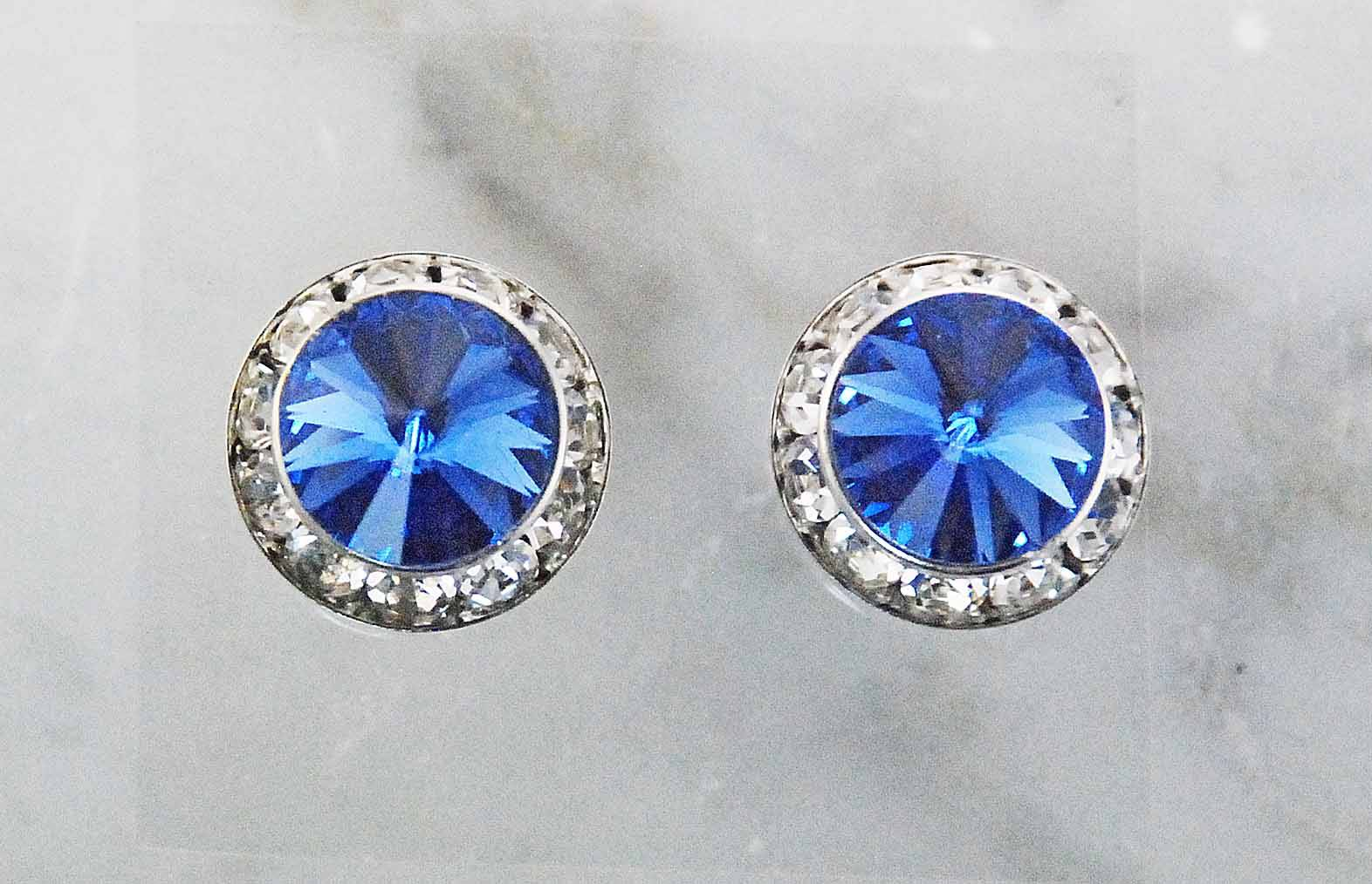 Finishing Touch Rivoli Stone Crystal/Frame Earrings