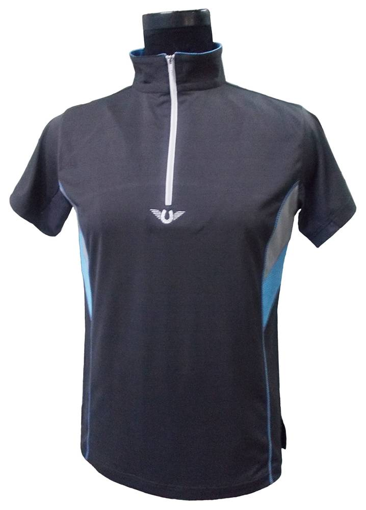 TuffRider Neon Ventilated Mock Zip SS Shirt