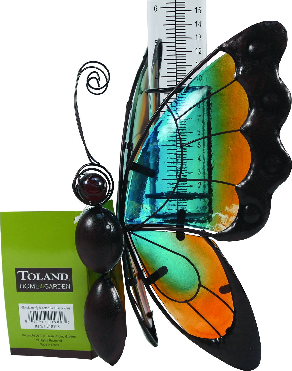 TOLAND HOME GARDEN Glass Butterfly Tabletop Rain Gauge