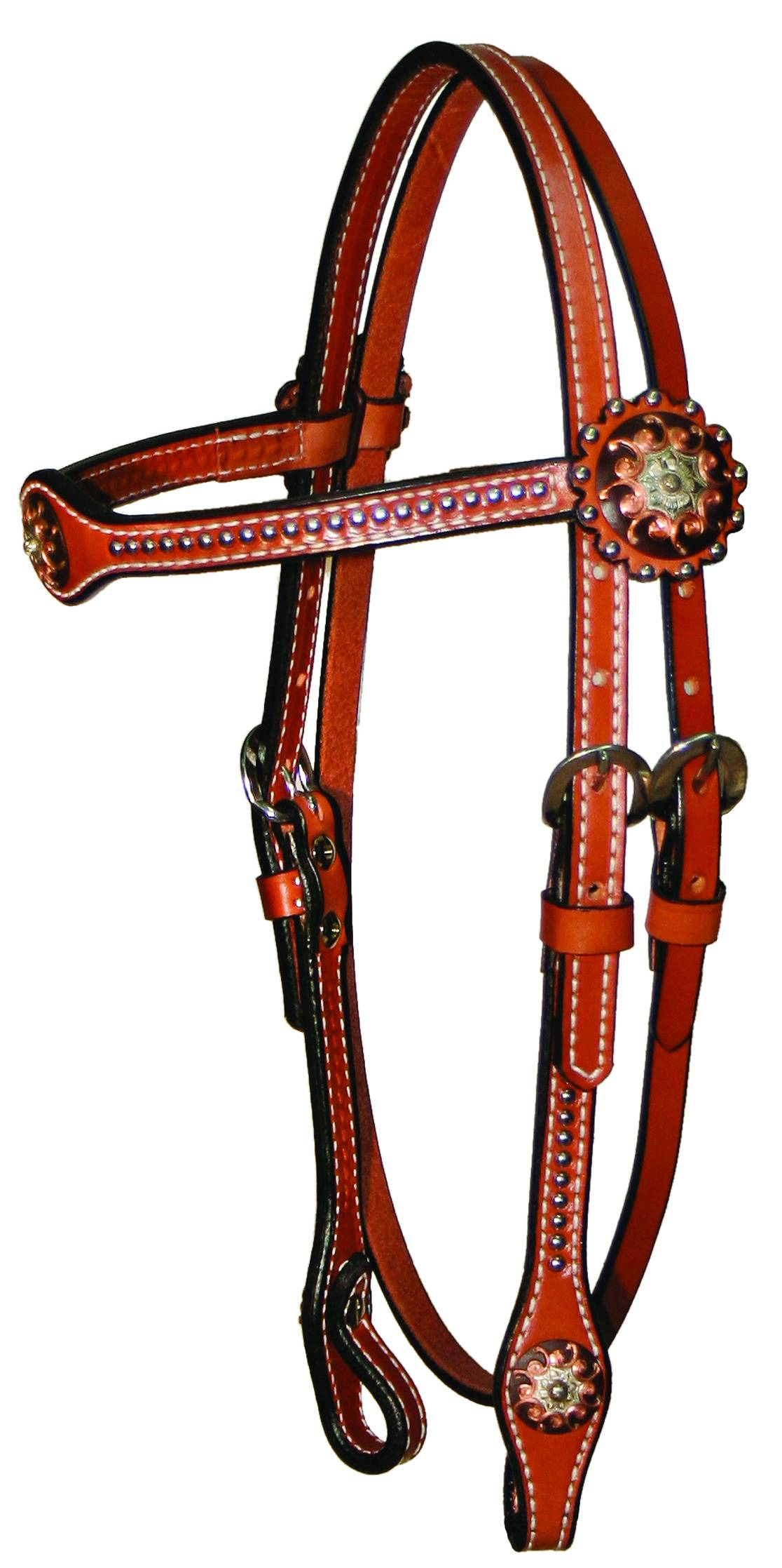 Circle Y Copper Concho & Spot Browband Headstall