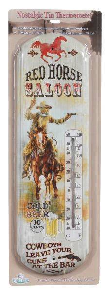 Gift Corral Red Horse Saloon Thermometer