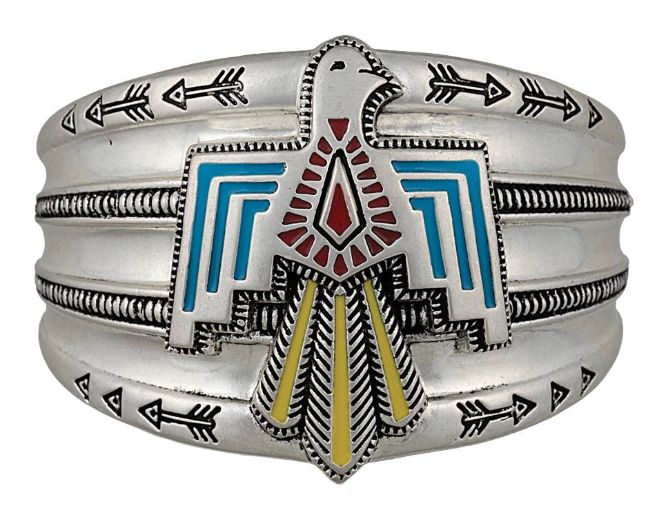 Rock 47 Tribal Flair Painted Thunderbird Cuff Bracelet