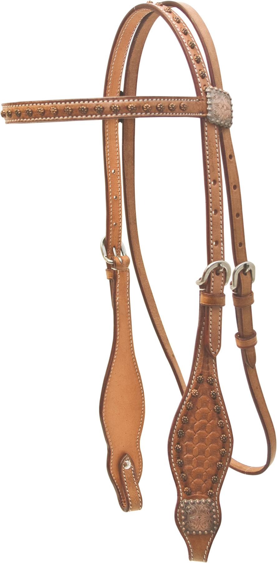 Cowboy Pro Waffle Tooled Browband Headstall With Copper Concho