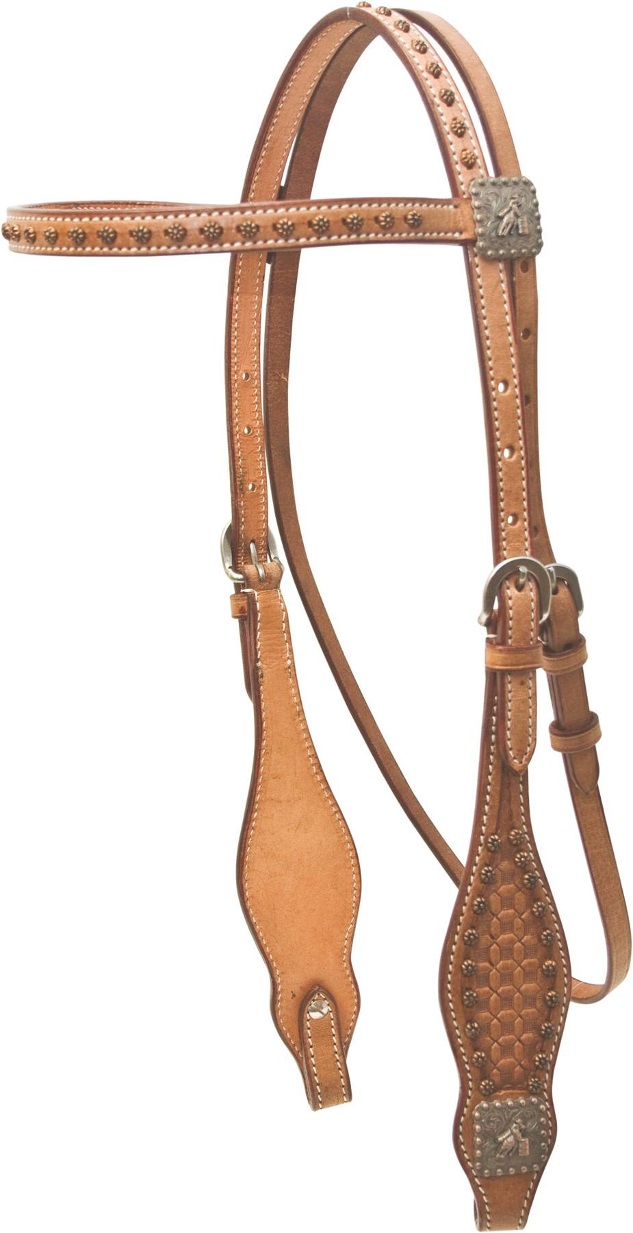 Cowboy Pro Waffle Tooled Browband Headstall With Barrel Racer