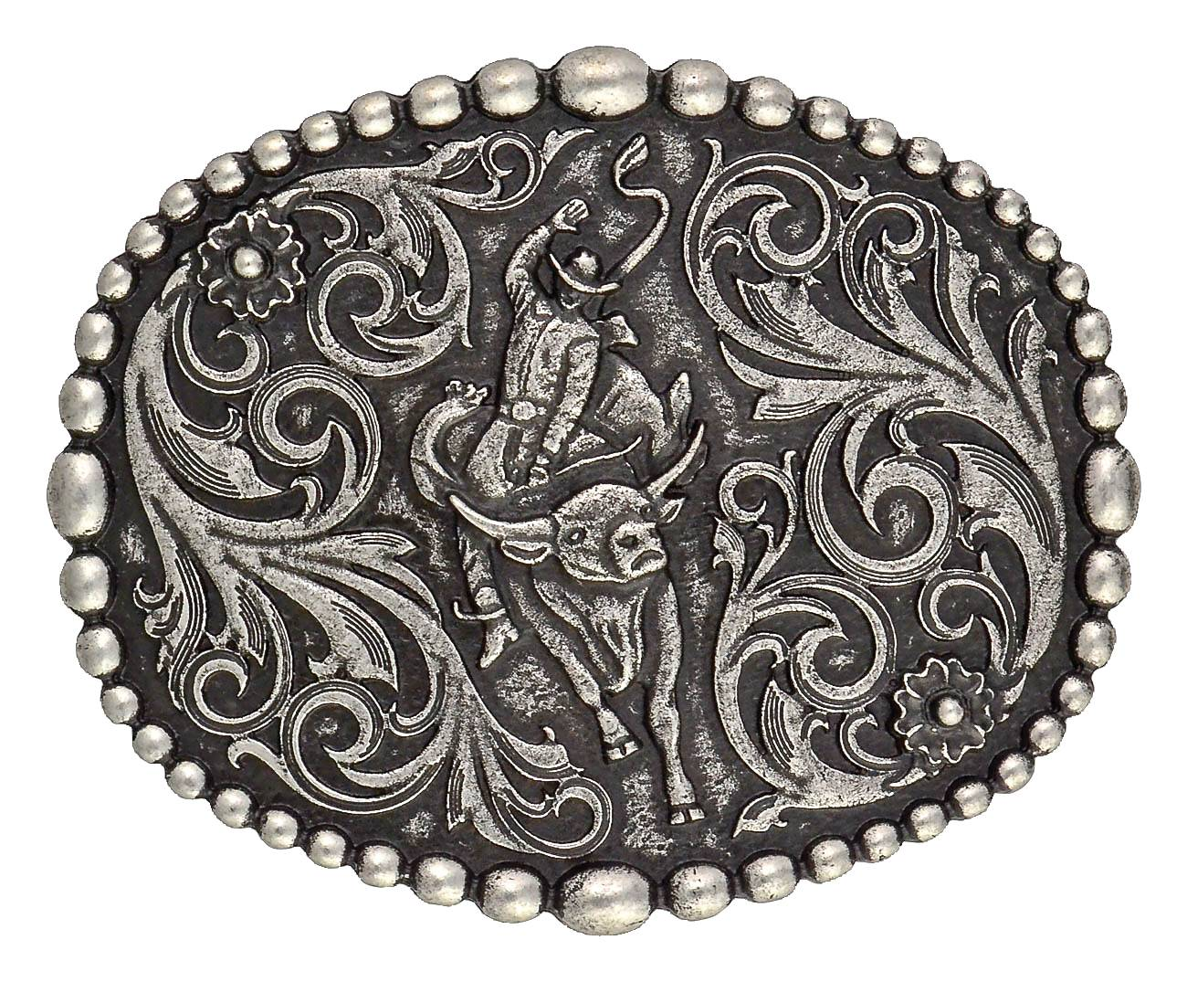 Montana Silversmiths Classic Beaded Trim Attitude Buckle With Bullrider