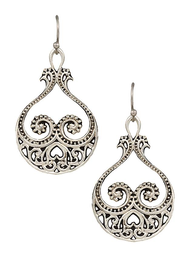 Montana Silversmiths Western Lace Paisley Hearts Earrings