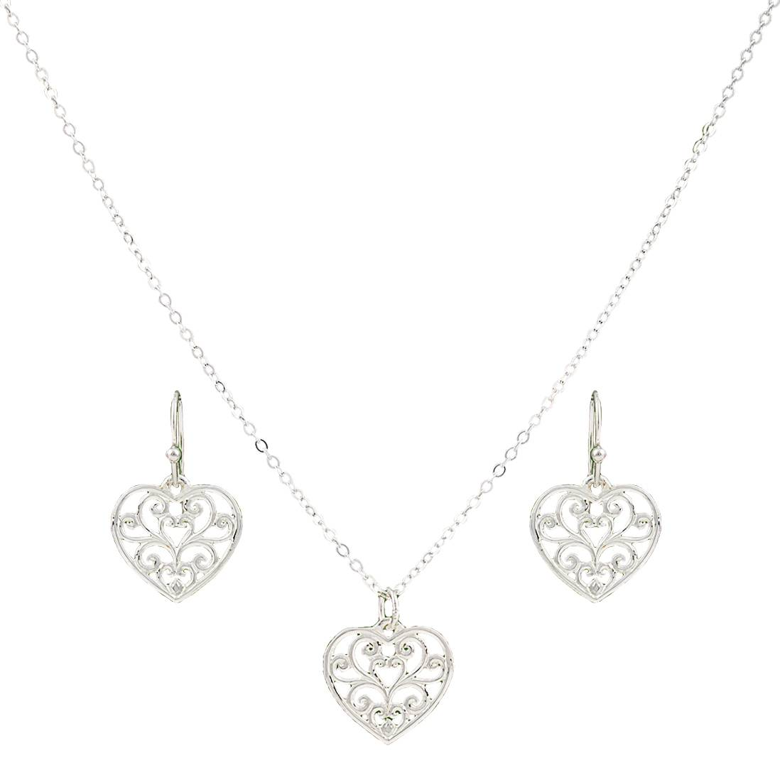 Montana Silversmiths Petit Heart'S Flame Lattice Jewelry Set
