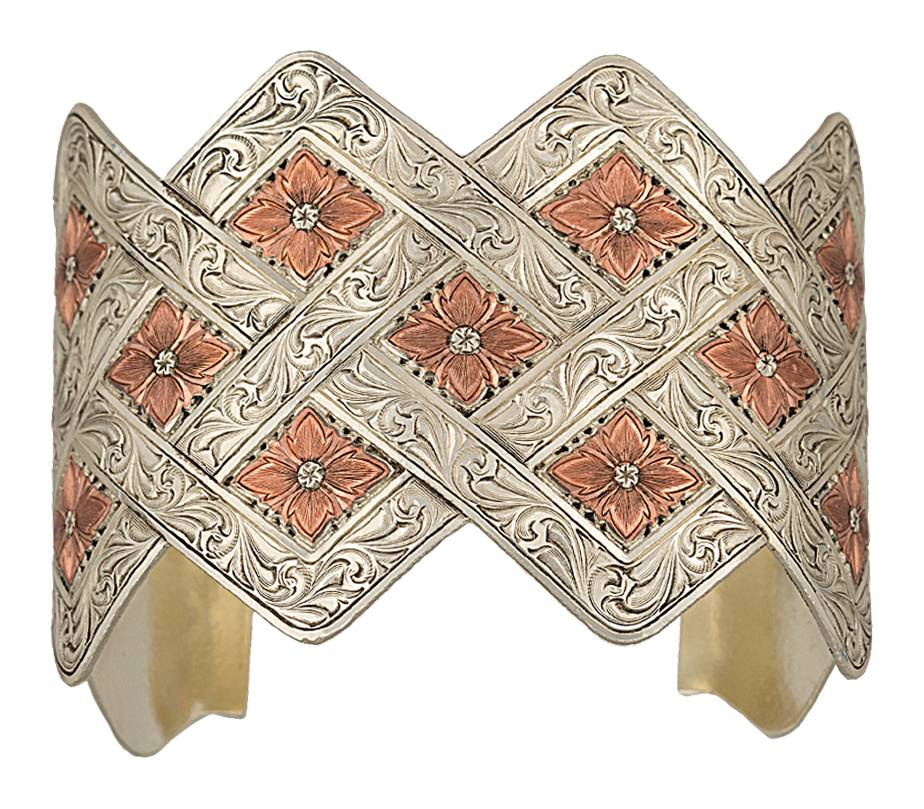 Montana Silversmiths Antiqued Two Tone Copper Blossom Weave Wide Cuff Bracelet