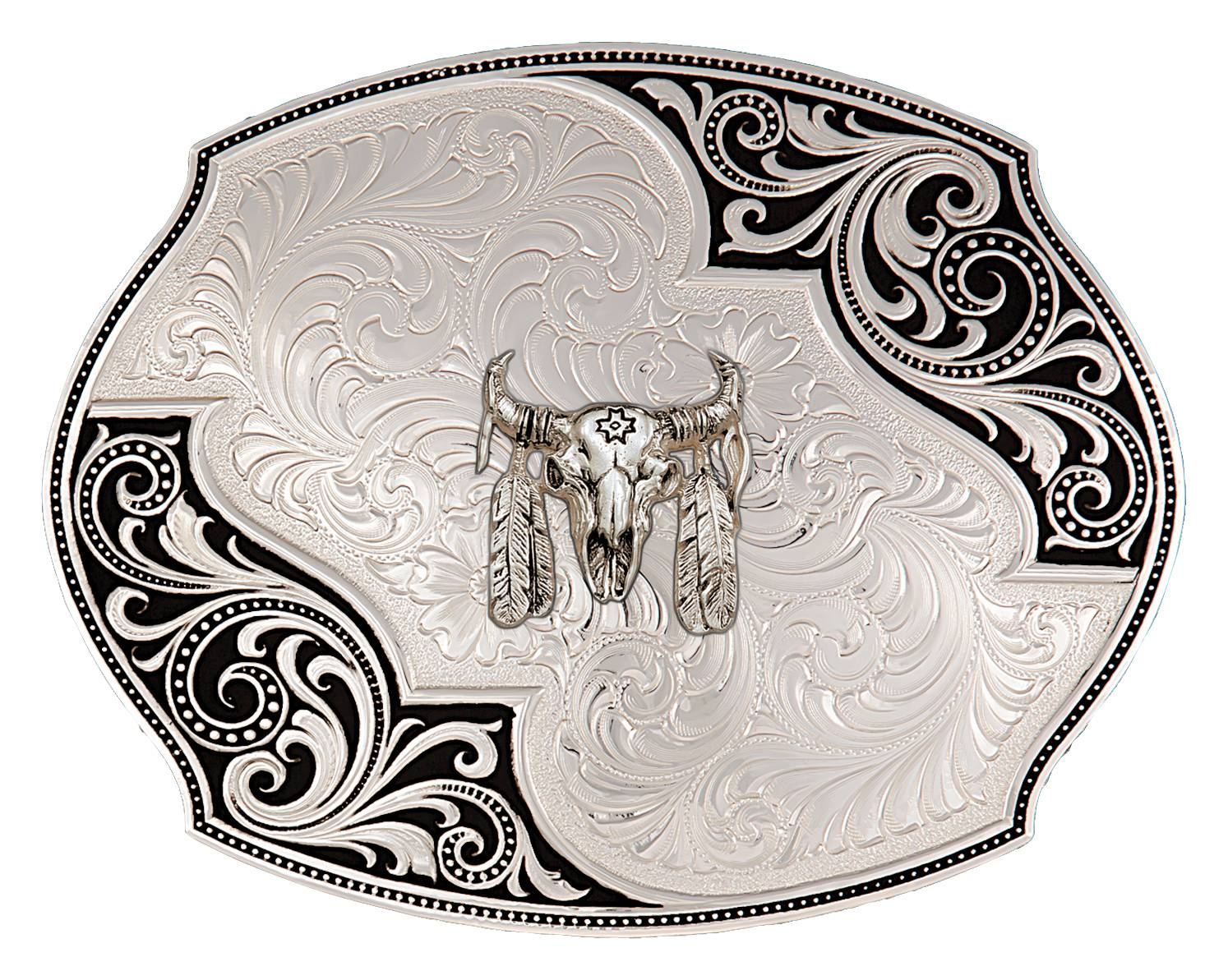 Montana Silversmiths Western Lace Whisper Flourish Buckle With Buffalo Skull