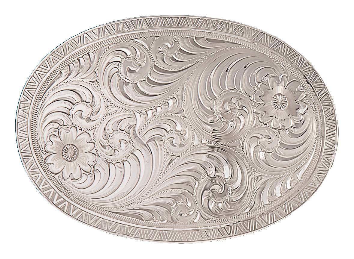 Montana Silversmiths Oval Engraved Western Belt Buckle With Geometric Trim