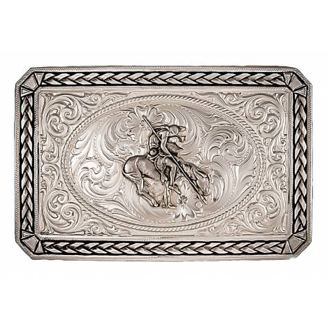 Montana Silversmiths Antiqued Wheat Trim Portrait Buckle With End Of The Trail