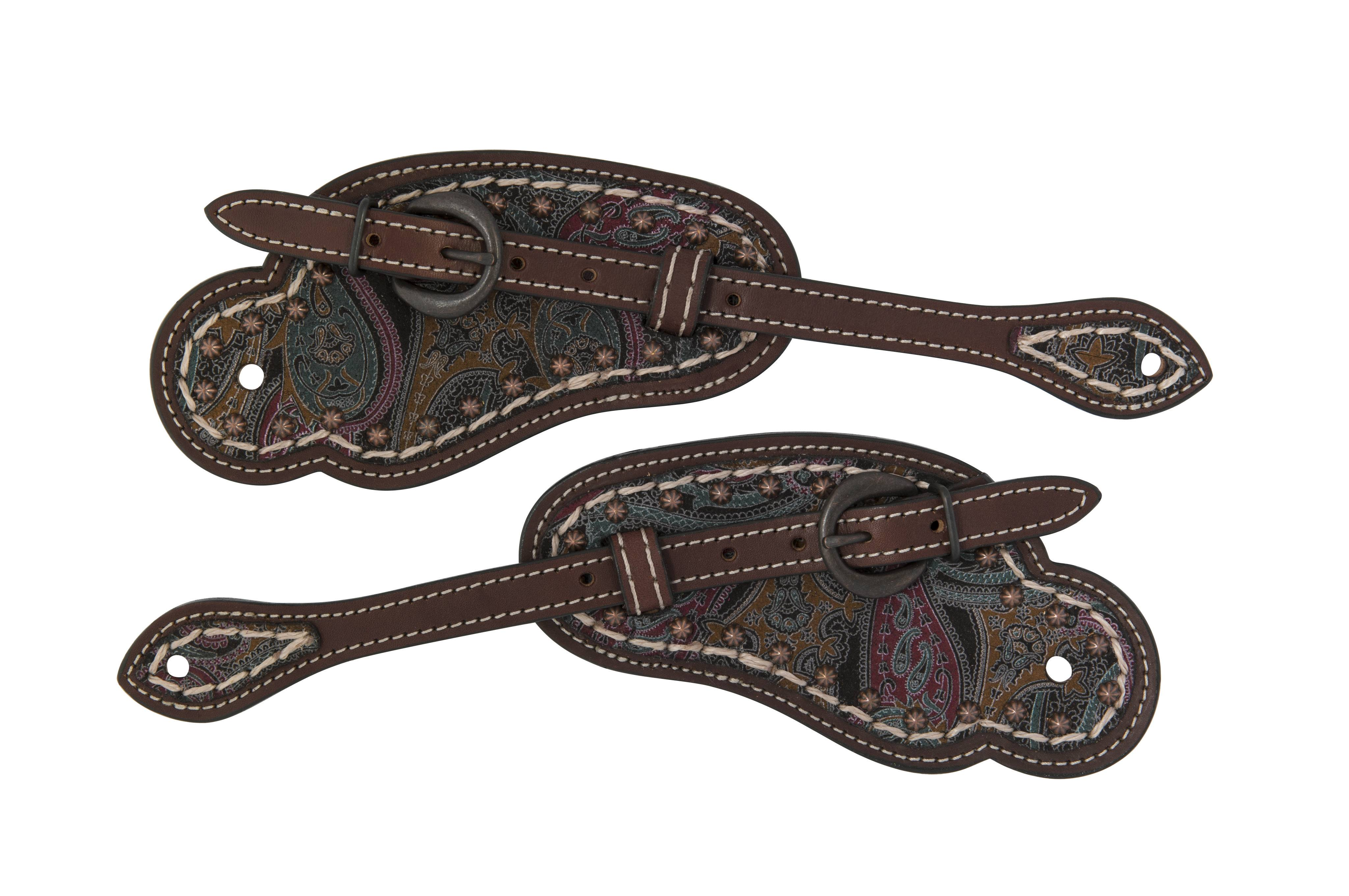 Weaver Vintage Paisley Cowboy Spur Straps with Overlay