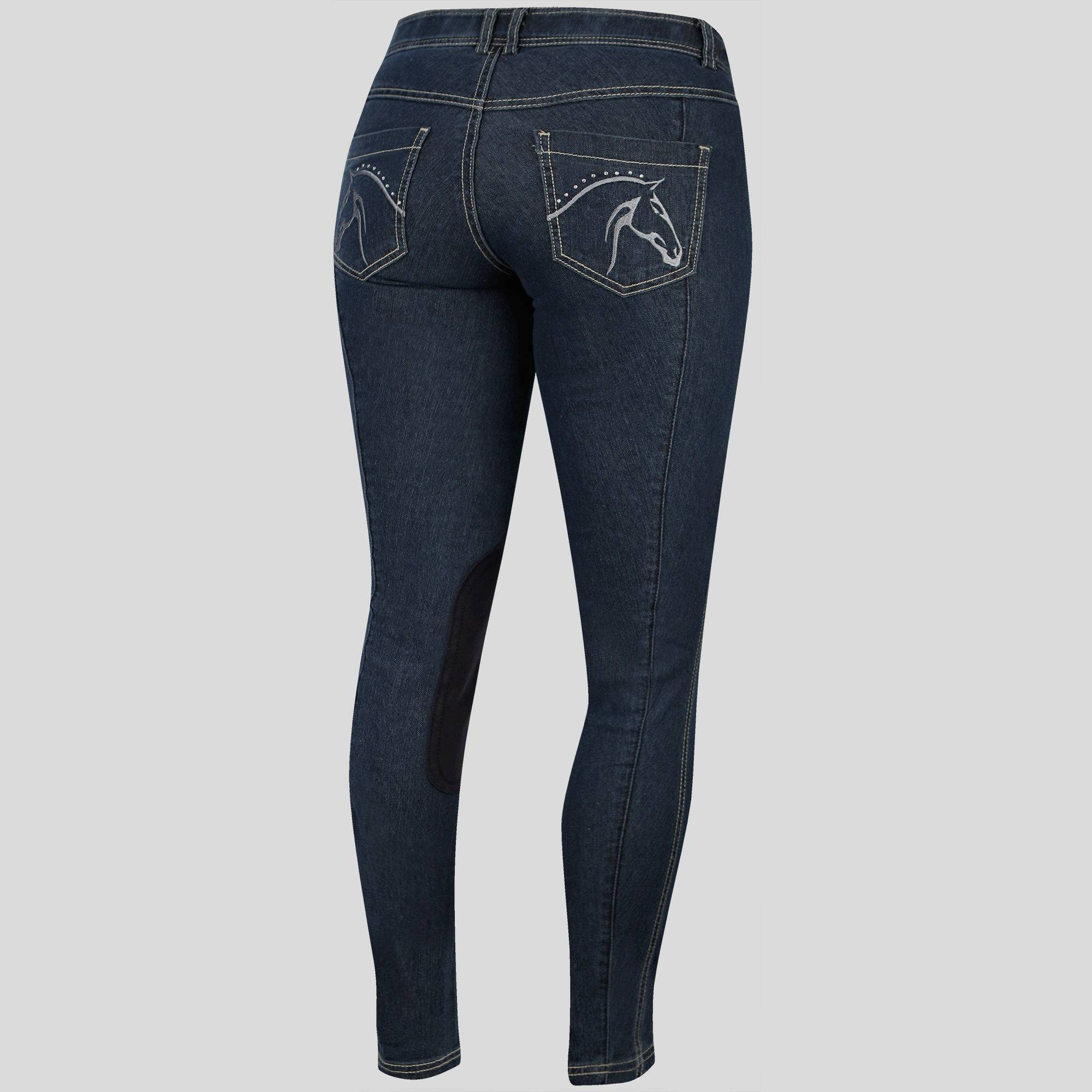 Irideon Women's Stretch Denim Diamond Horse Breech