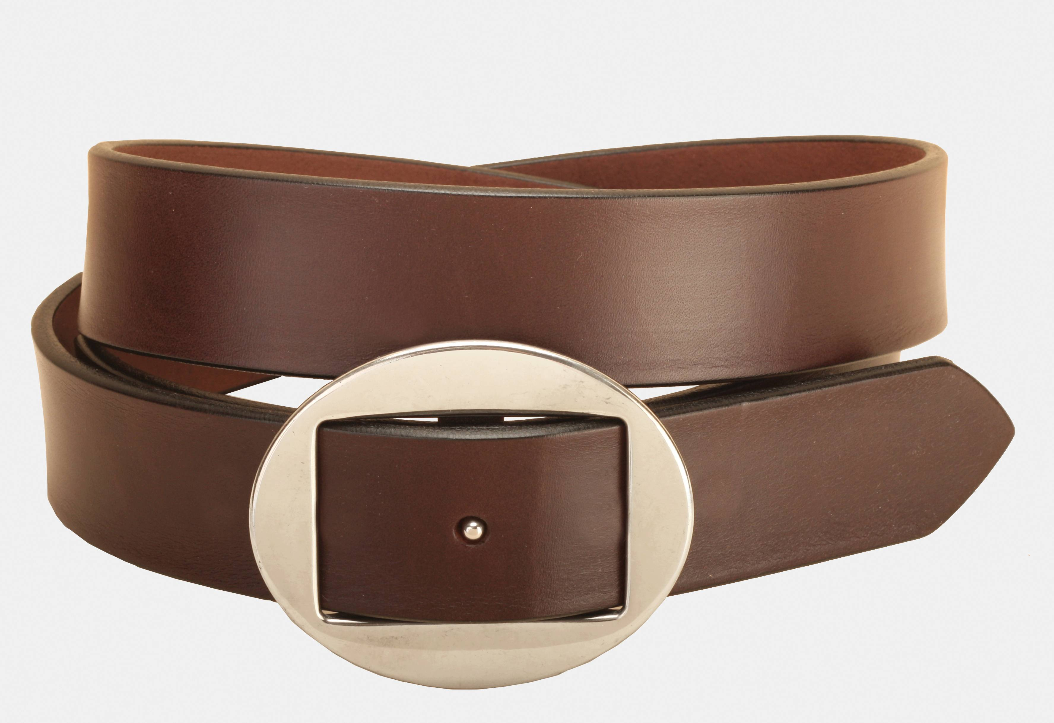 Tory Leather Plain Leather Belt with Oval Conway Buckle