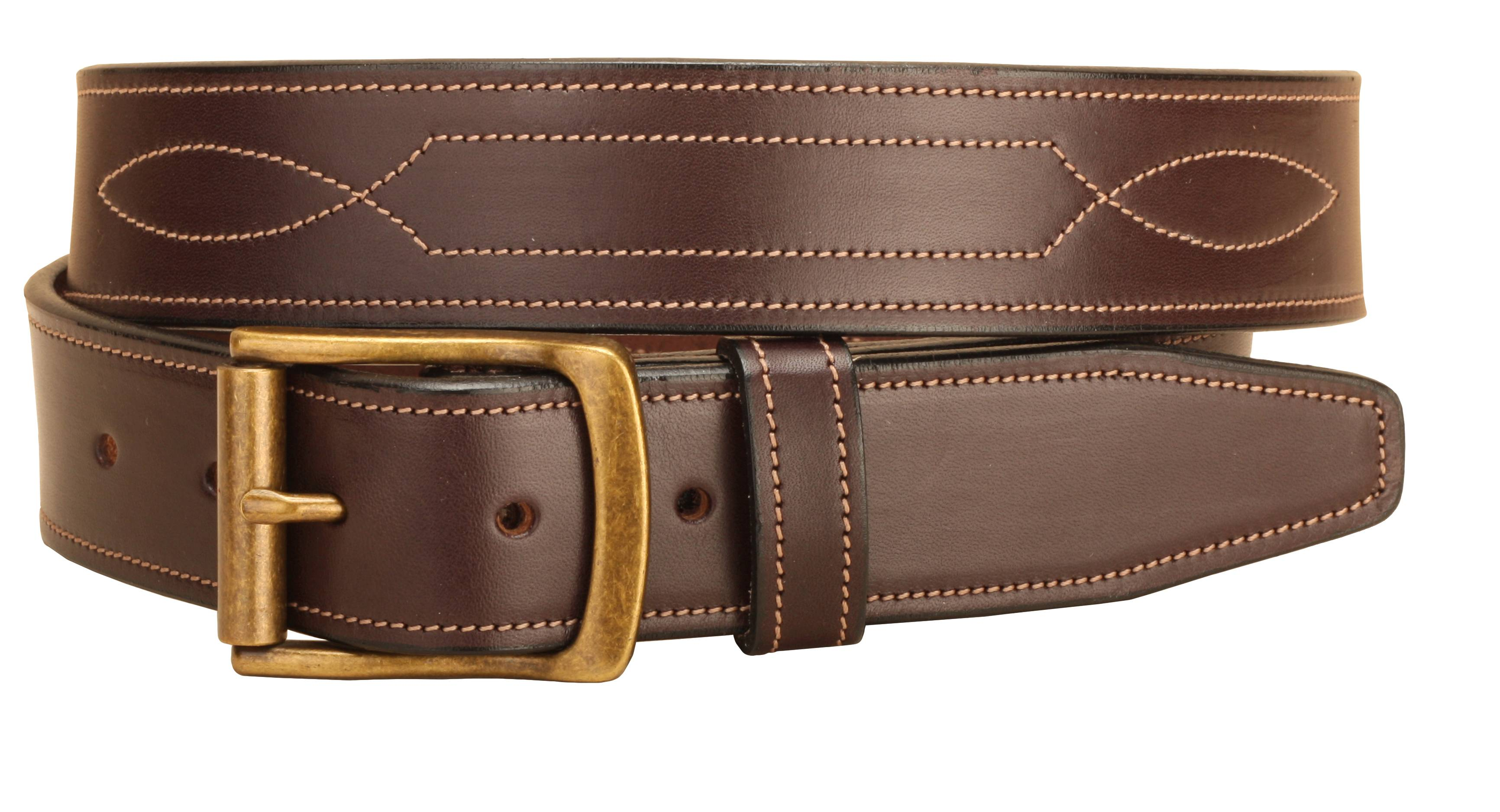 Tory Leather Triple Stitched Pattern Leather Belt