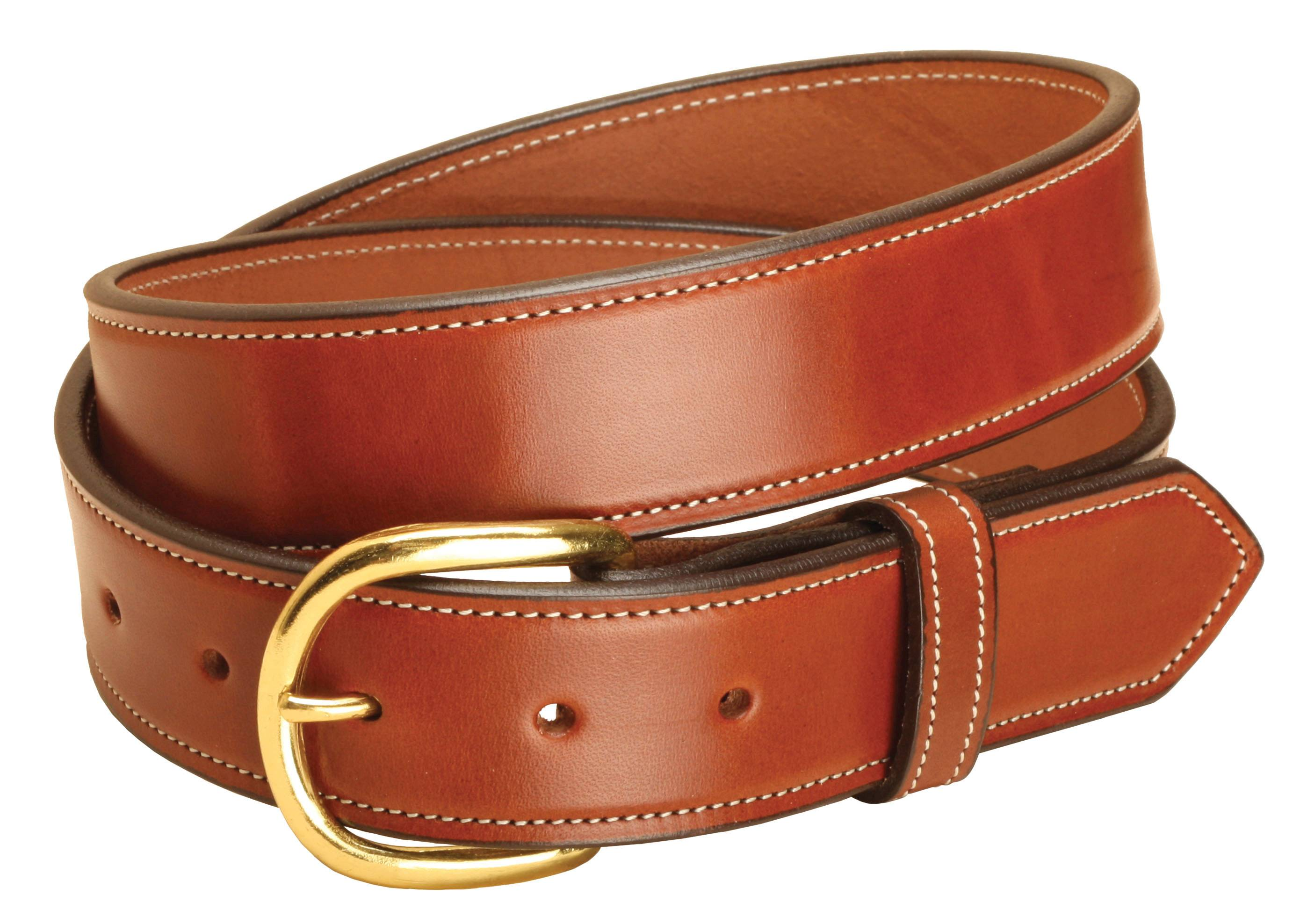 Tory Leather 1 1/2'' Stitched Belt with Brass Buckle