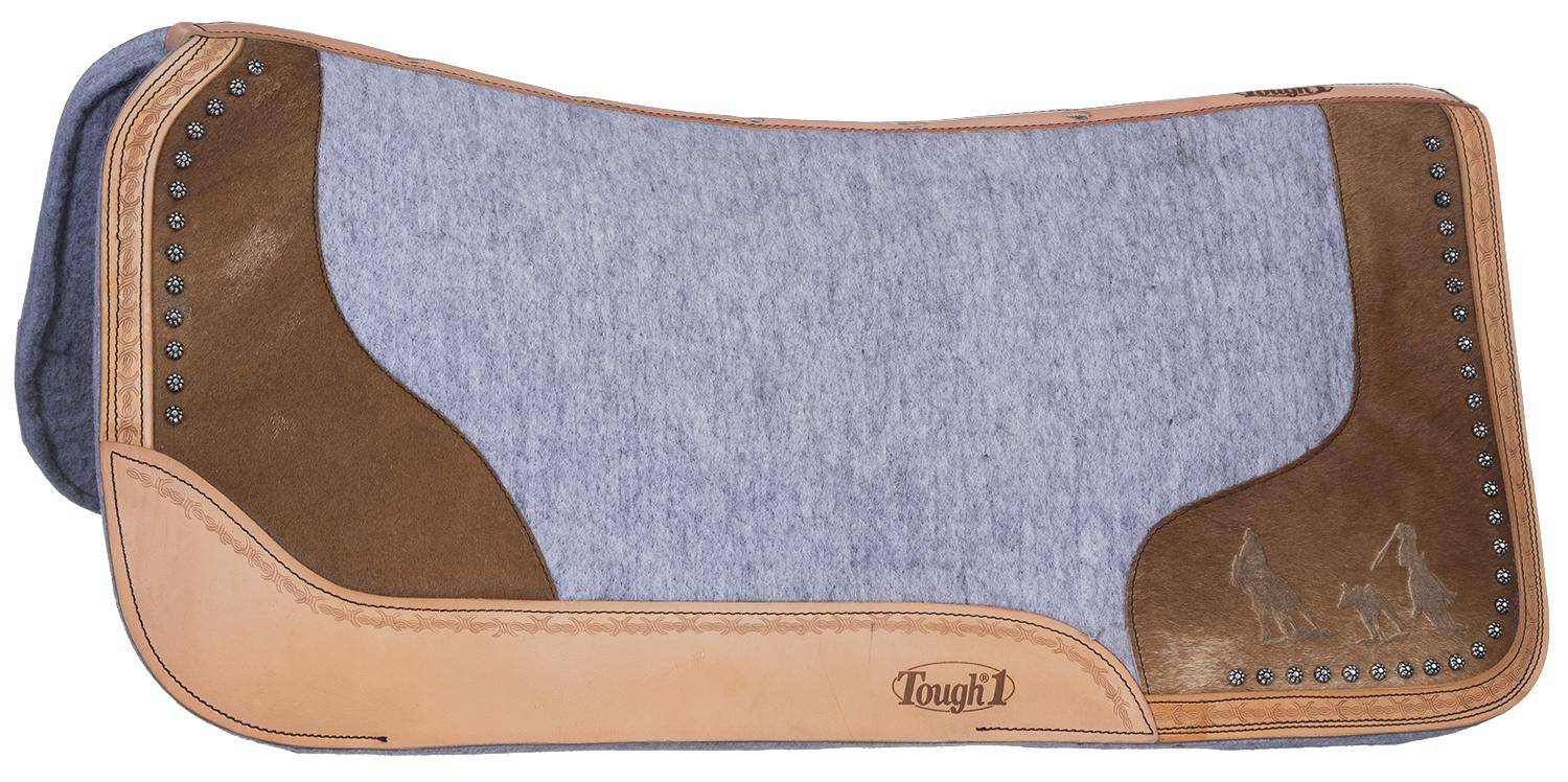 Tough-1 Motif Felt/Hair Contoured Saddle Pad - Team Roping