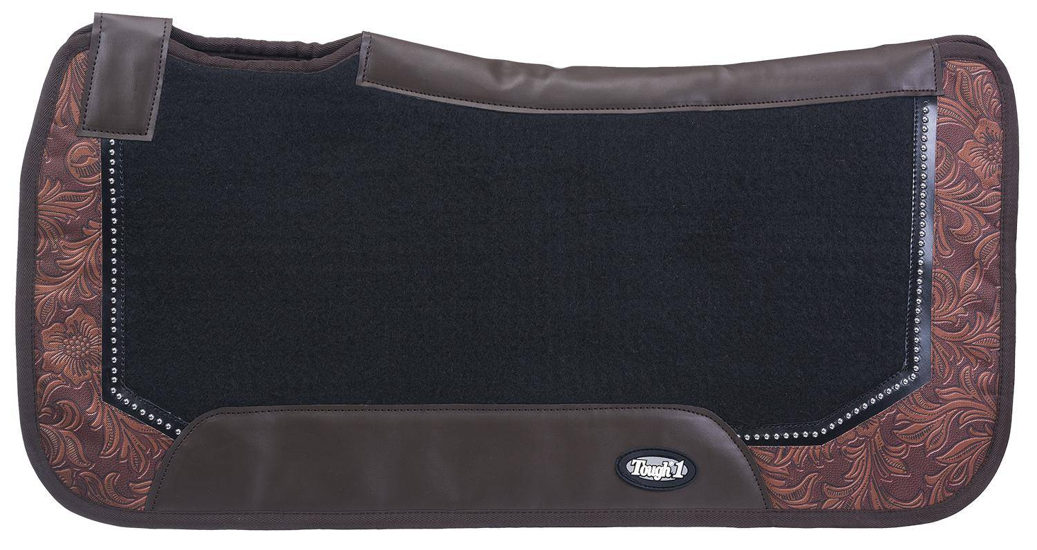 Tough-1 Air Flow Shock Absorber PVC Saddle Pad Prints With Dots Pad - Tooled Leather