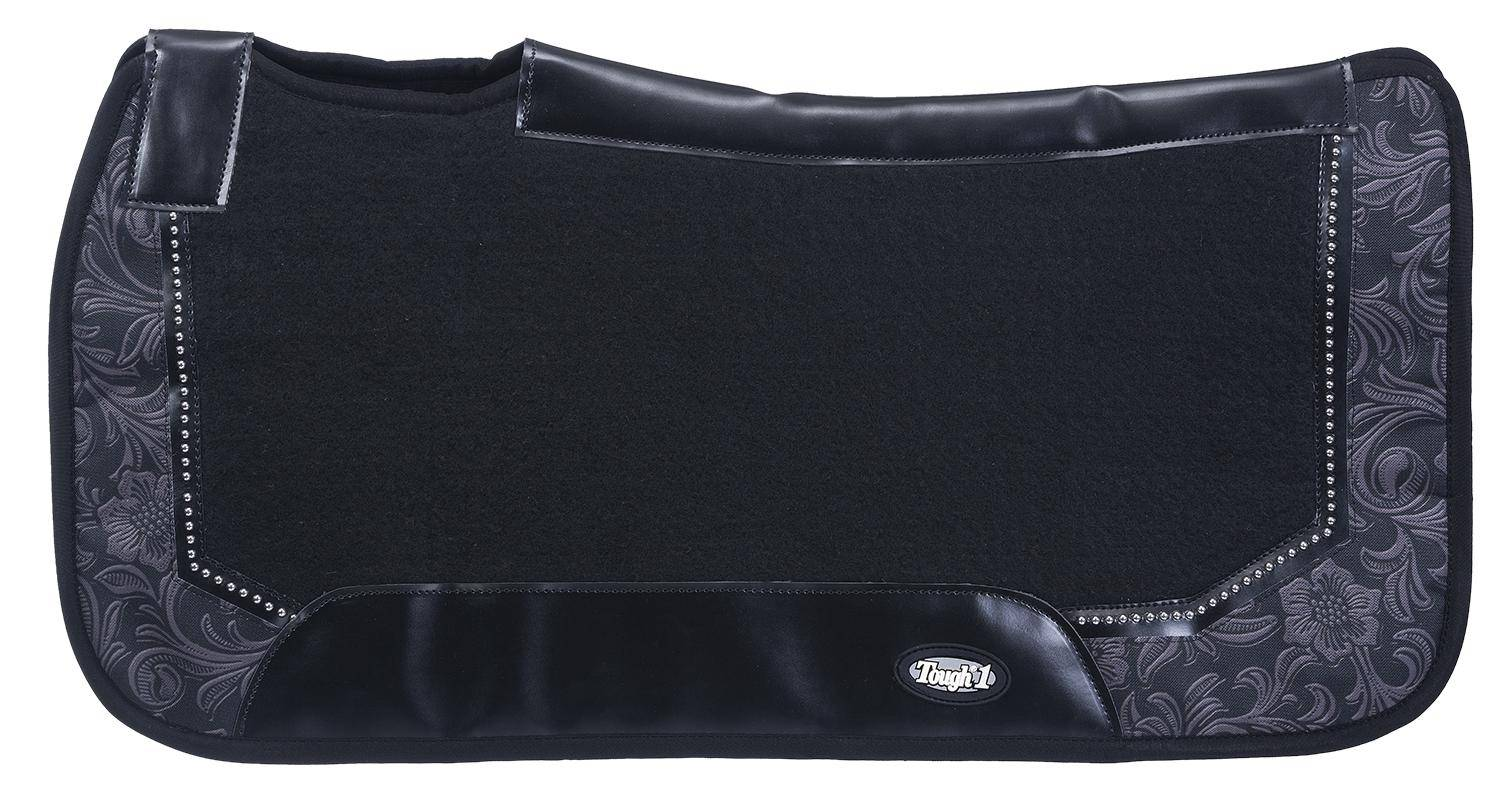 Tough-1 Air Flow Shock Absorber PVC Saddle Pad - Tooled Leather Print