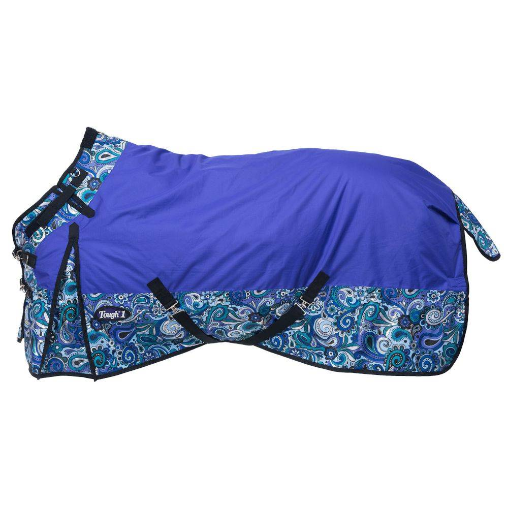 Tough-1 1200D Waterproof Poly Snuggit Turnout Blanket in Paisley Shimmer Print - Metallic Paisley