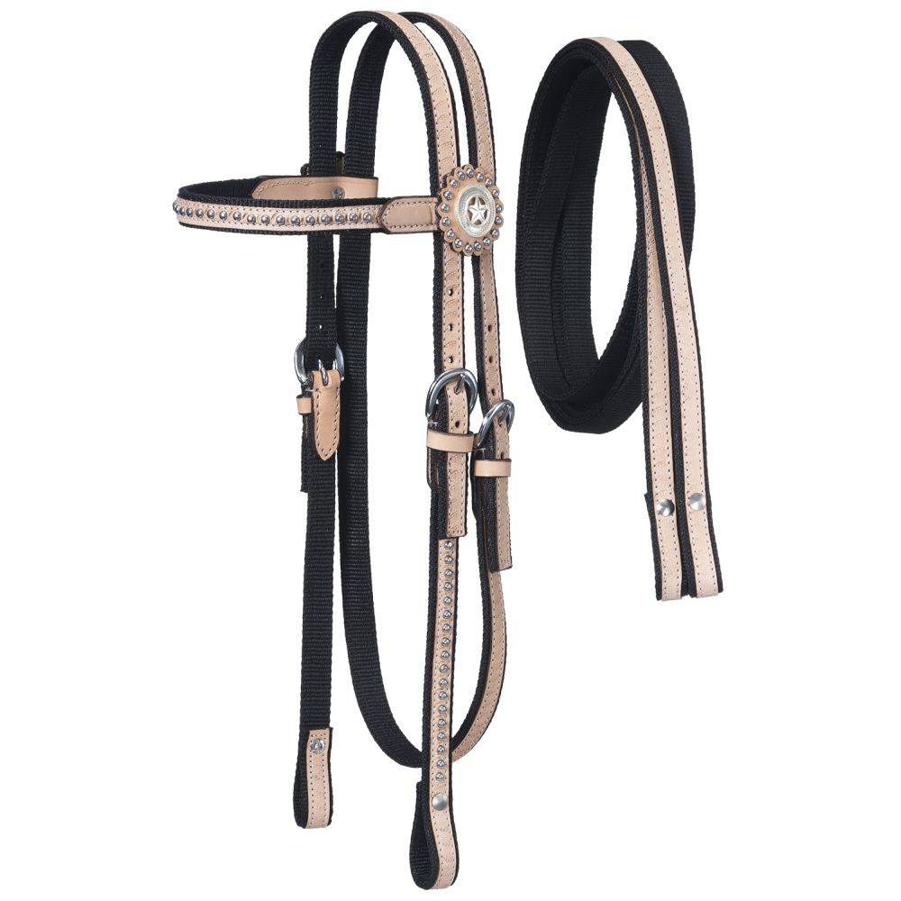 Tough-1 Nylon Headstall with Leather Overlay & Silver Dots with Reins