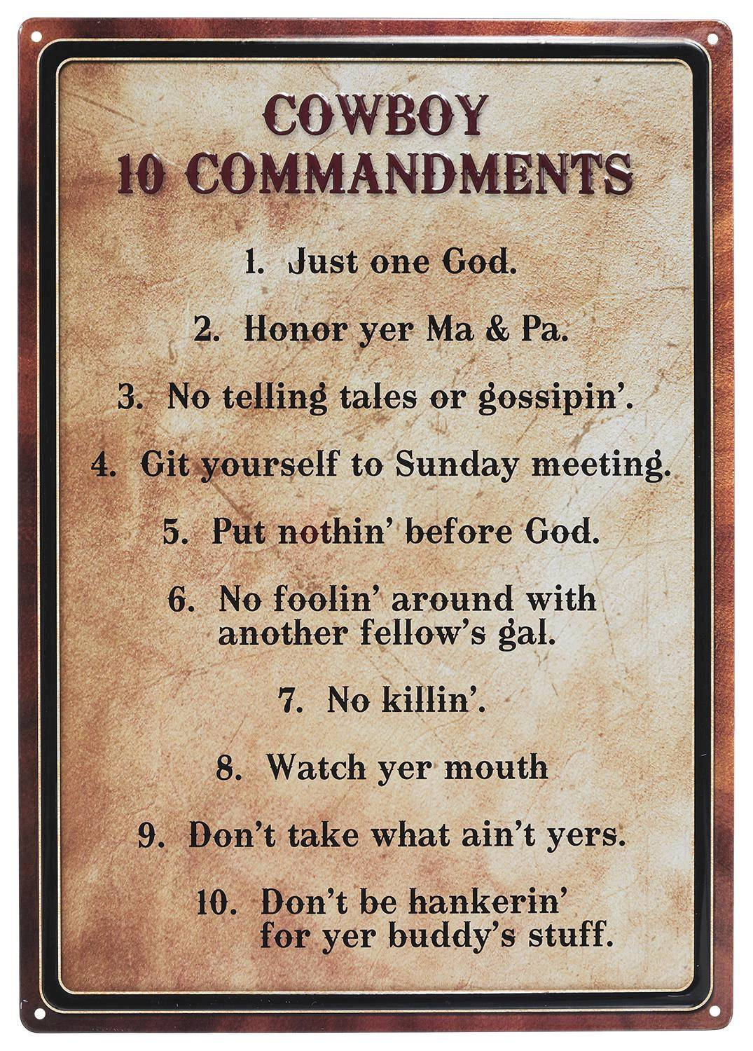 Gift Corral Cowboy 10 Commandments Sign