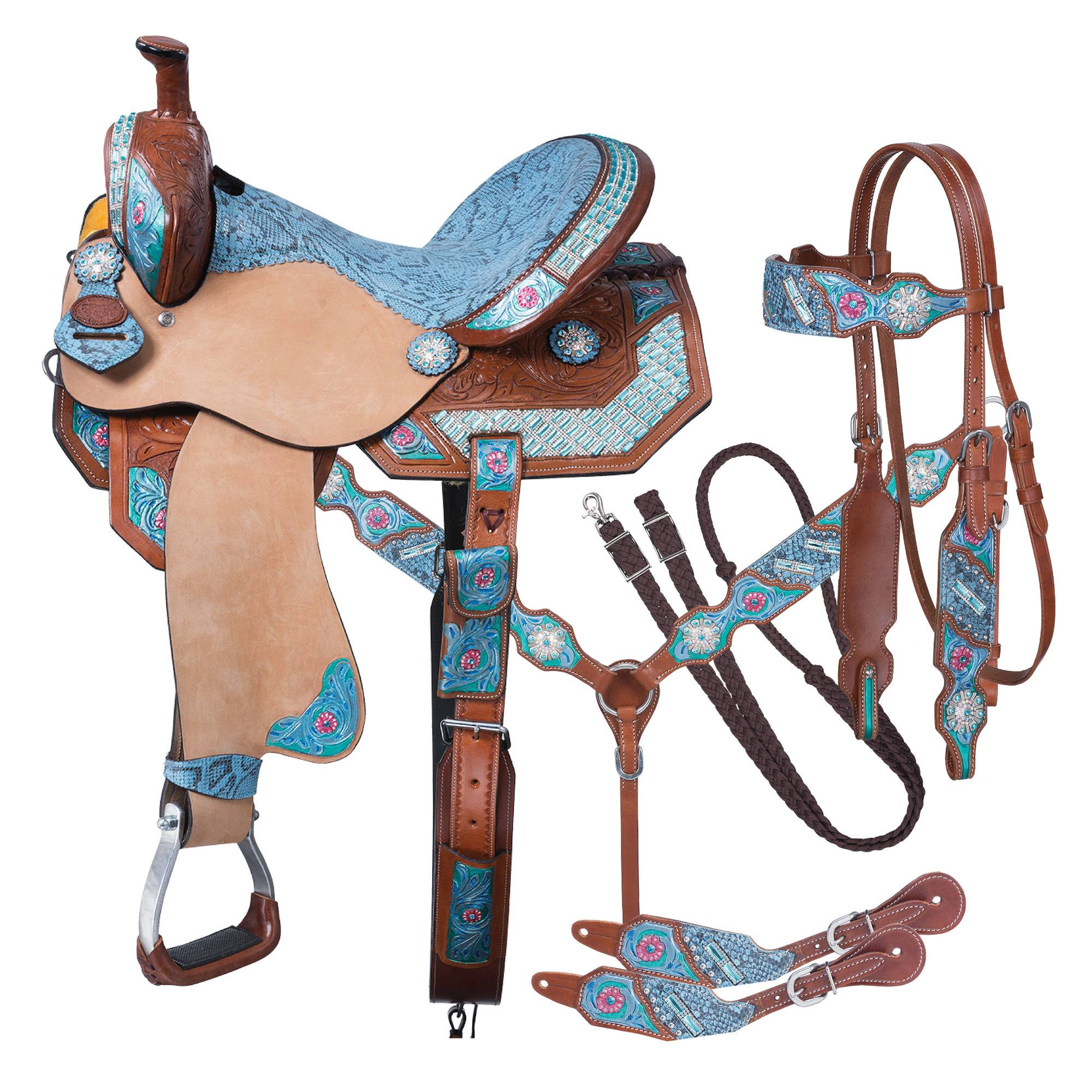 Silver Royal Macaelah Barrel Saddle 5Pc Package