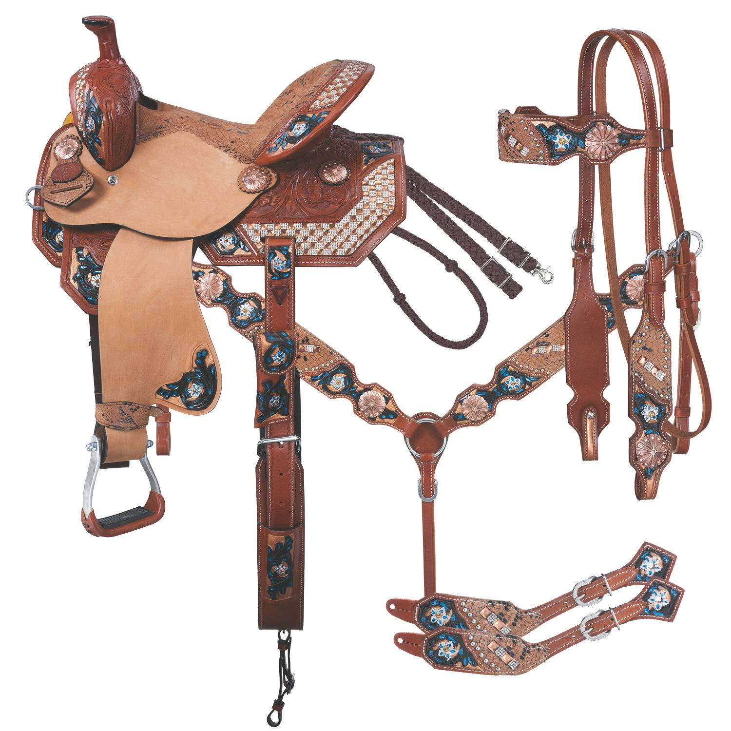 Silver Royal Savannah Barrel Saddle 5Pc Package