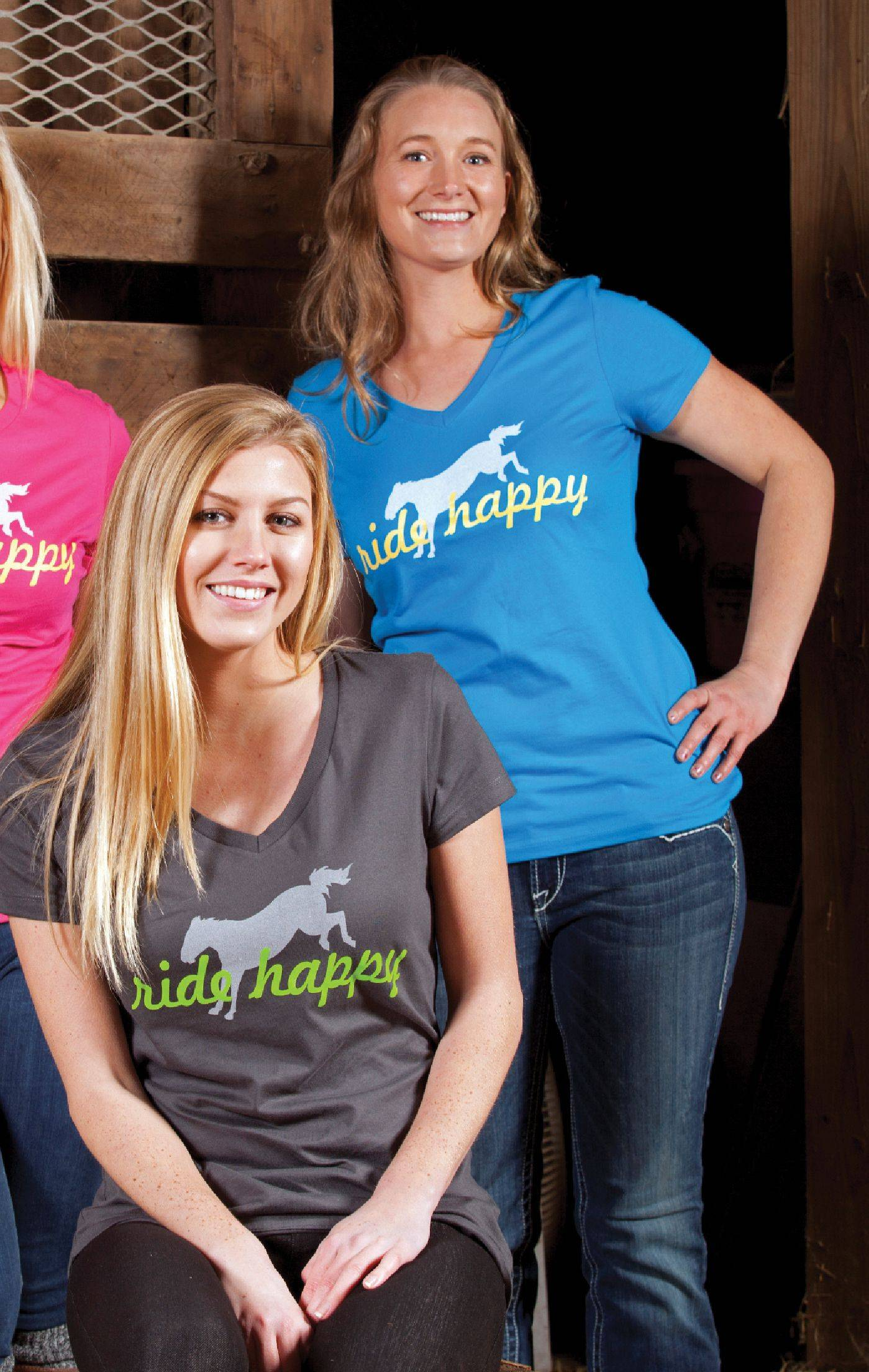 Genuine Ranch Brand Ladies' Ride Happy V Neck Tee