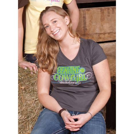 Genuine Ranch Brand Ladies' Genuine Cowgirl Logo V Neck Tee