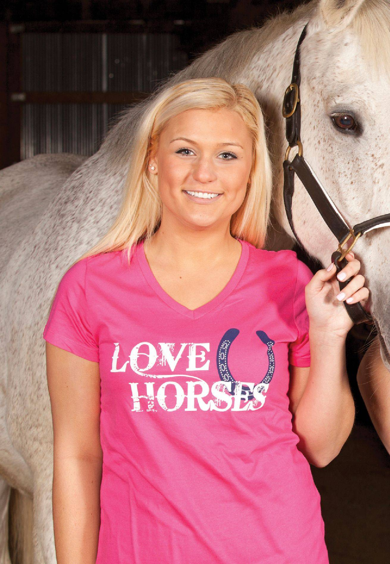 Genuine Ranch Brand Ladies' Love Horses V Neck Tee