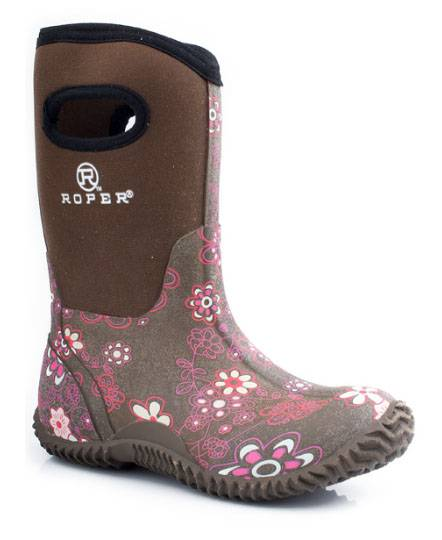Roper Kids Tall Barnyard Boots - Brown Floral