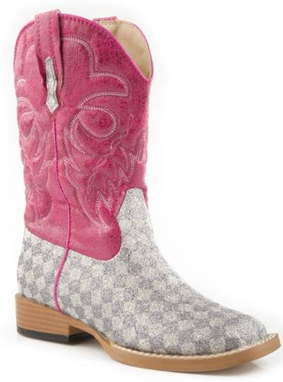 Roper Kids Bling Square Toe Check Boot - Grey/Pink