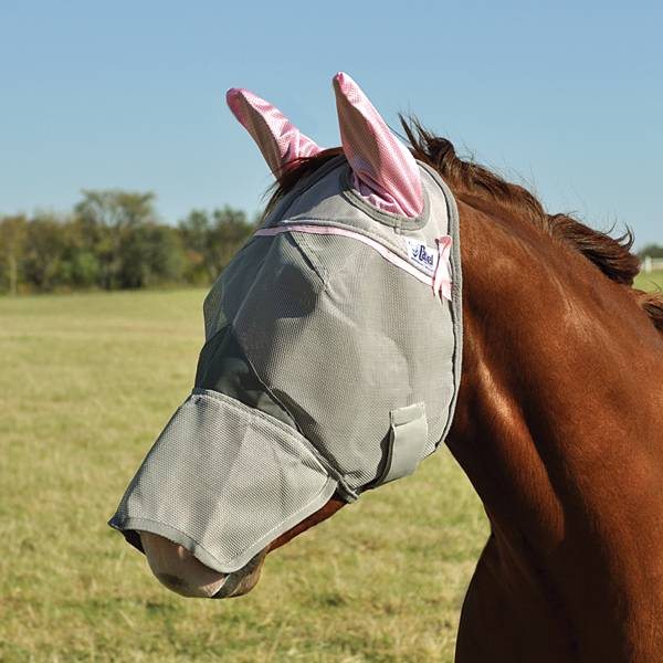 Cashel Crusader Fly Mask with Long Nose and Ears Pink Trim