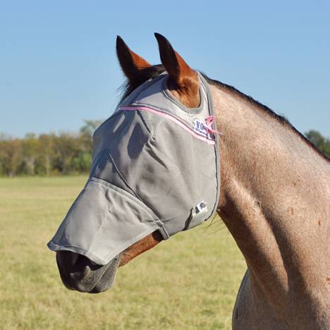 Cashel Crusader Fly Mask with Long Nose Pink Trim