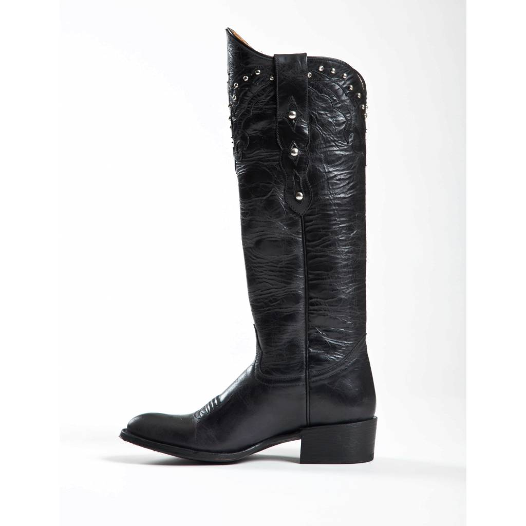 Johnny Ringo Women's Knee High JRS806-15B Black Boots with Studs