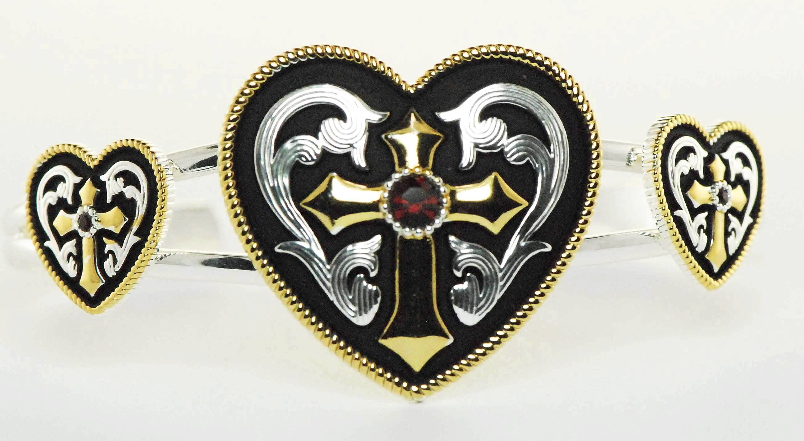 Western Edge Jewelry Western Heart And Cross Bracelet