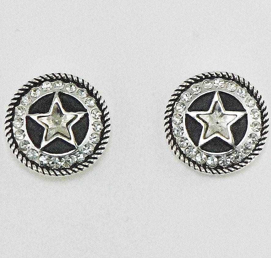 Western Edge Jewelry Crystal Star Concho Earrings