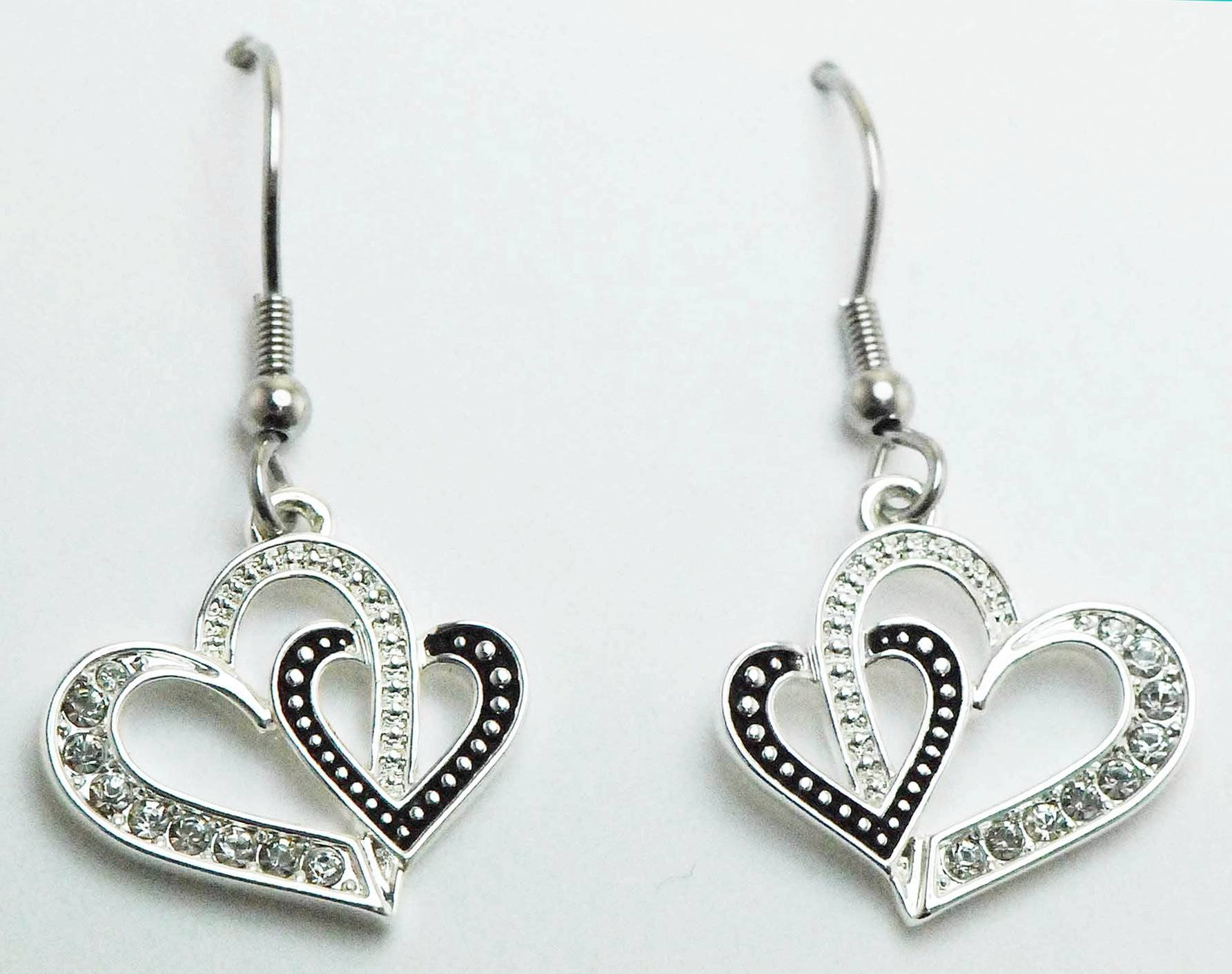 Western Edge Jewelry Double Heart Earrings